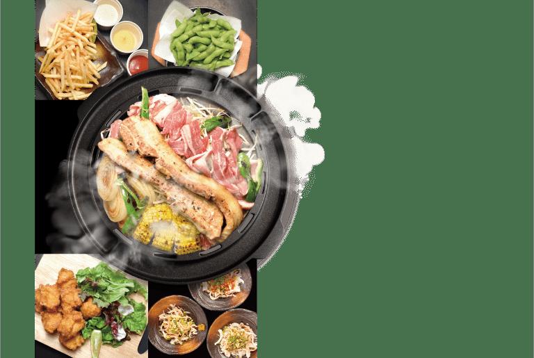 ラム肉 牛カルビ 厚切り豚バラ 鶏もも肉 焼き野菜 サイドメニュー ビール5種含む50種以上飲み放題