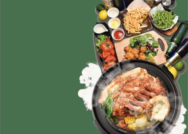 ラム肉 牛カルビ 豚バックリブ チーズ 厚切り豚バラ 鶏もも肉 牛ハラミステーキ 焼き野菜 サイドメニュー ビール5種含む50種以上飲み放題