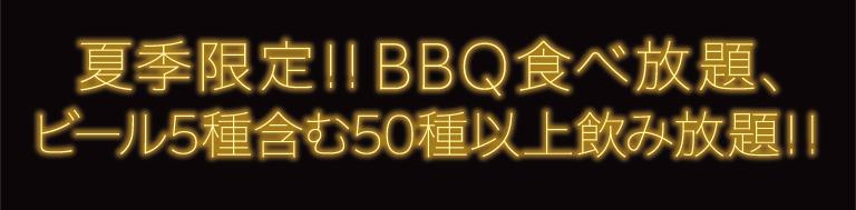 BBQ食べ放題 ビール5種含む50種以上飲み放題!